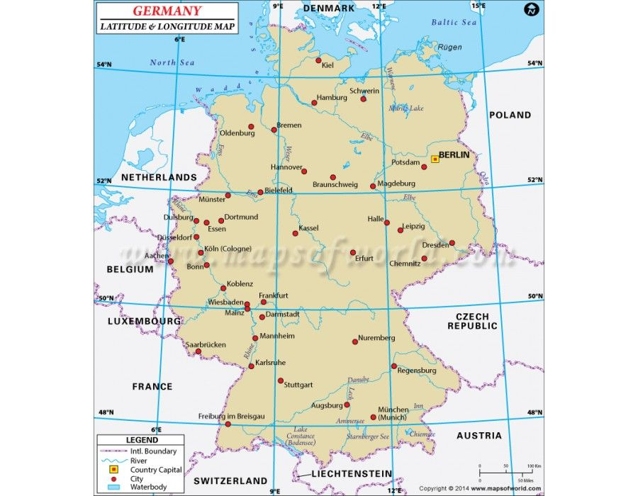 Buy Germany Latitude and Longitude Map Online | Country Maps ...