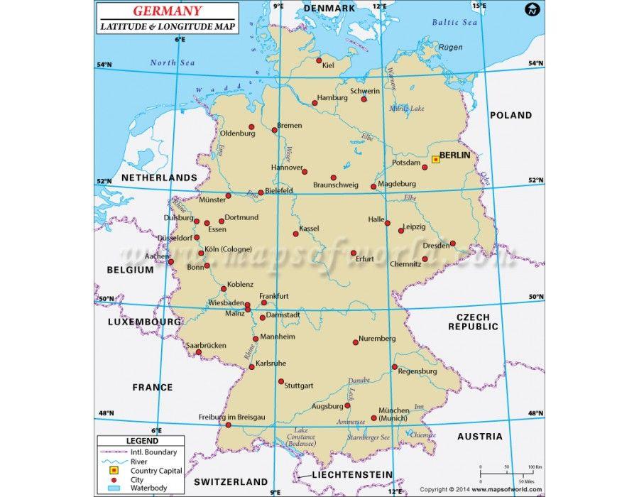 Buy Germany Latitude And Longitude Map Latitude And Longitude