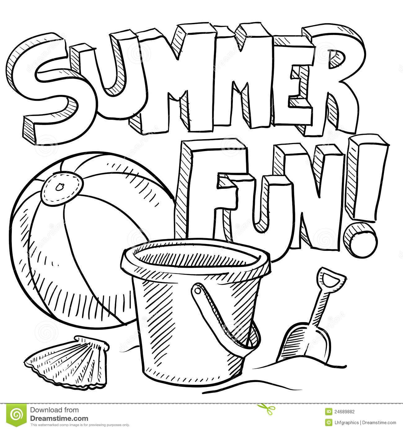Summer Fun Black And White Clipart 1