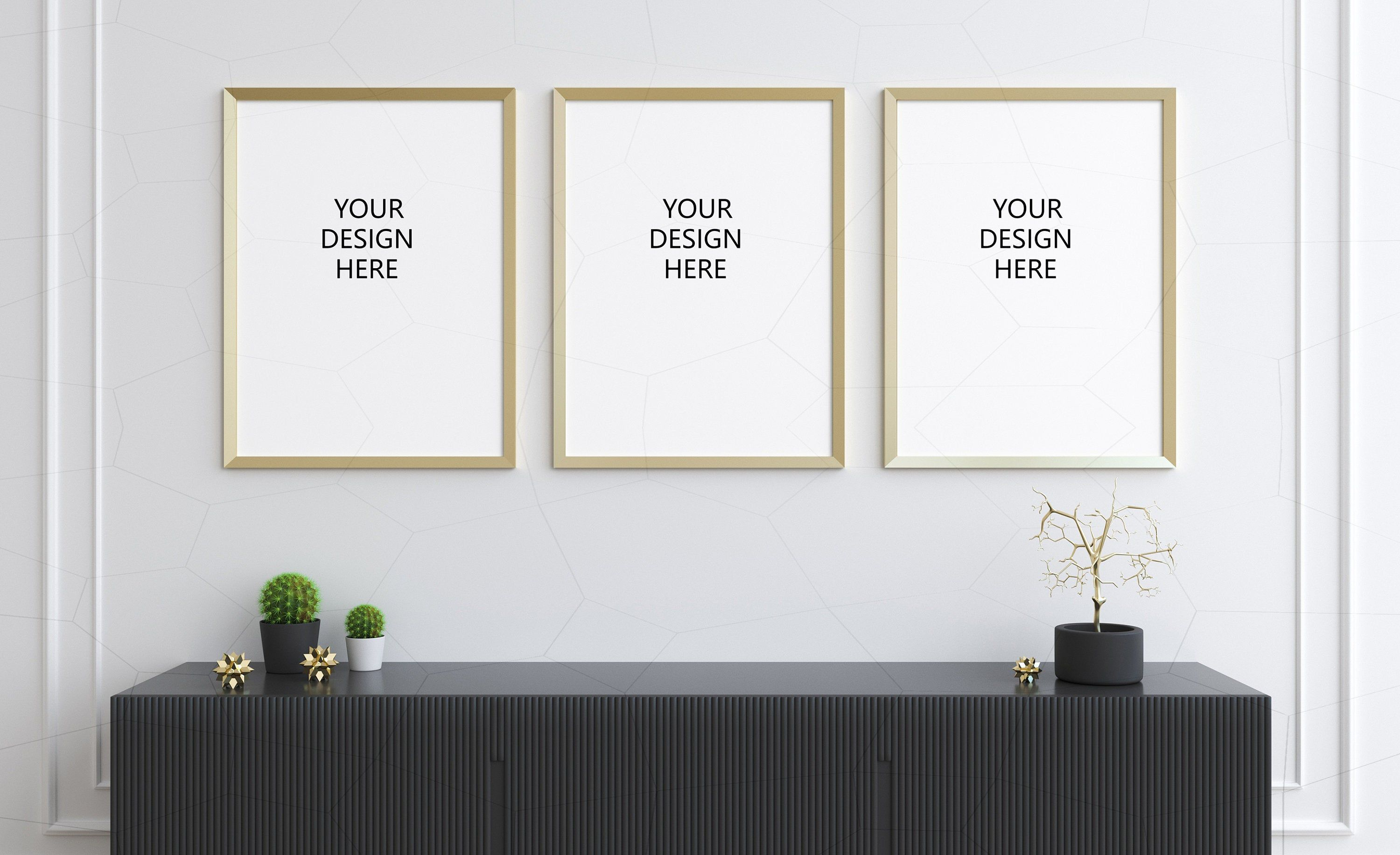 Set Of Three Or One Vertical Gold Frame Mockup Digital Frames Etsy Frame Mockups Gold Frame Frames On Wall