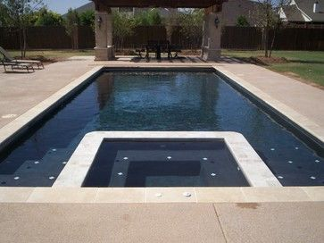 I Love The Dark Pool Bottom With Travertine Coping Classic Pools Projects Modern Pool With Images Modern Pools Modern Pool And Spa Backyard Pool