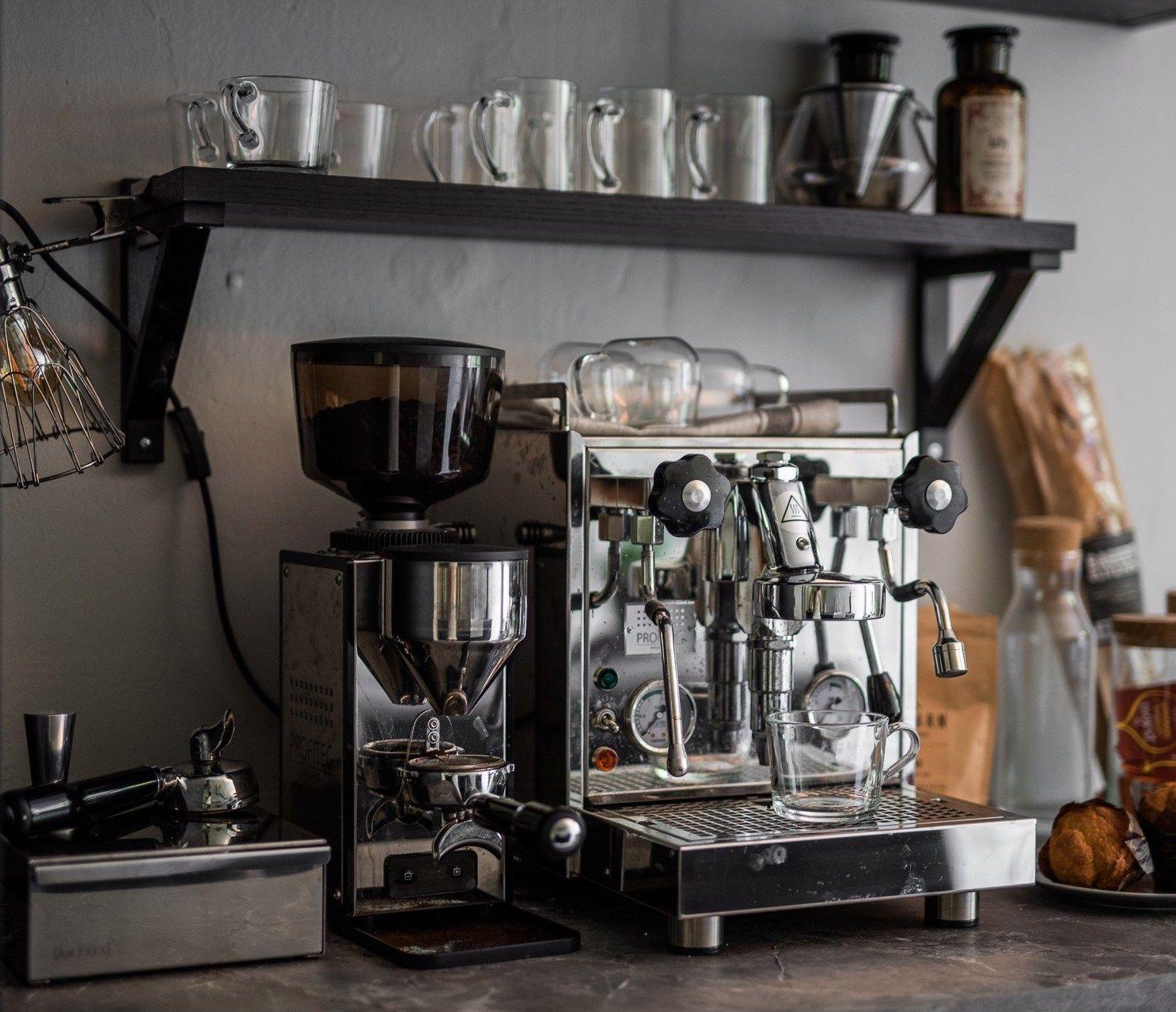 Spacious Kitchen With My Dream Coffee Setup Coco Lapine Design Spacious Kitchens Home Bar Setup Coffee Bar Home