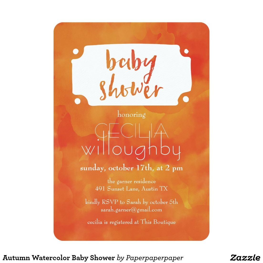 Autumn Watercolor Baby Shower Card