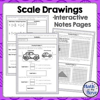 Scale Drawings Notes And Practice 7 G 1 Scale Drawing Seventh Grade Math Interactive Notes Scale drawing worksheets grade