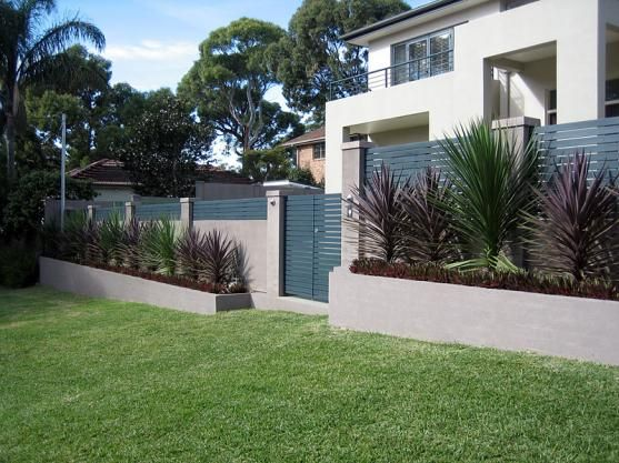 Fence Designs By Modular Wall Systems Block Wall Of Concrete Pillars With W