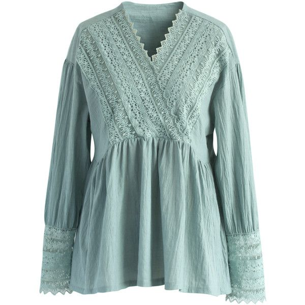 Chicwish Lacey Victory Dolly Top in Teal (2.675 RUB) ❤ liked on Polyvore featuring tops, green, teal top, lacy tops, green lace top, lace top and lace trim top