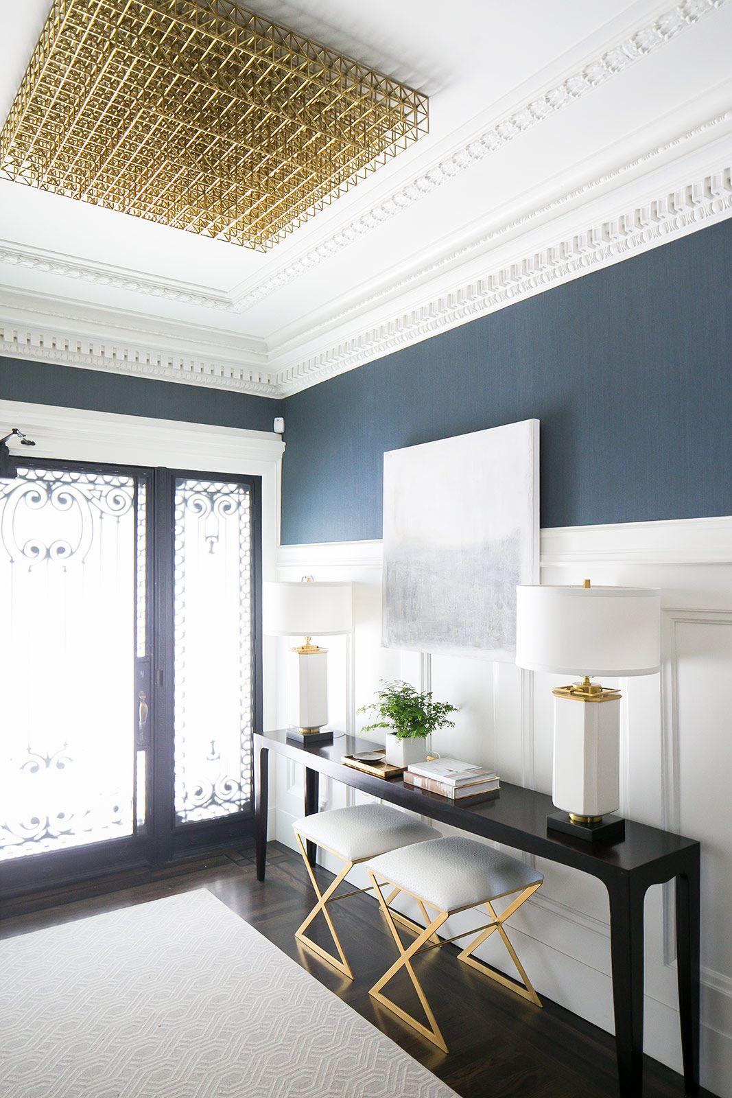 Navy hallway ideas  entry crisp details  Home decor  Pinterest  Grand entryway Green