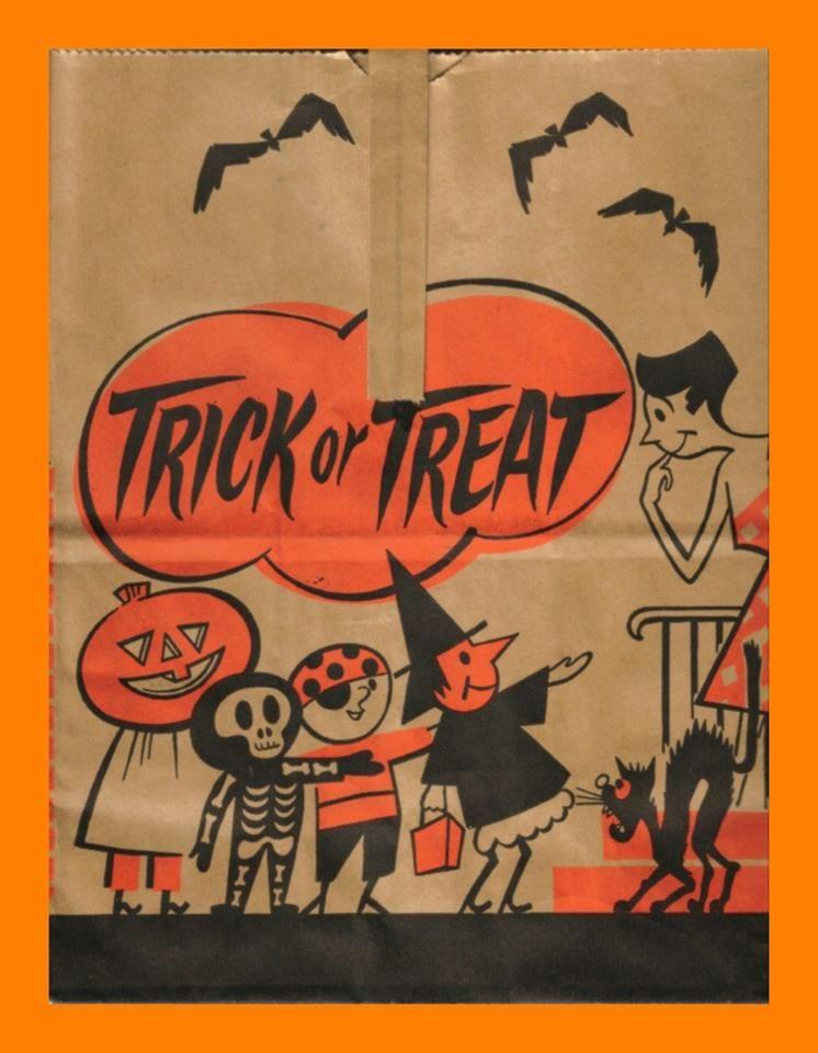 Vintage Halloween Trick Or Treat Bag Vintage Halloween Cards Vintage Halloween Images Vintage Halloween