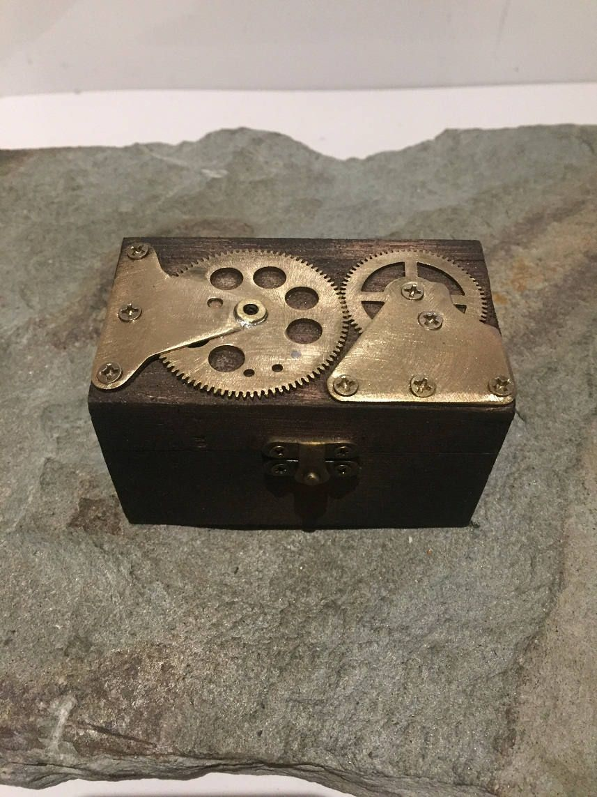 Small Hinged Wooden Steampunk Jewellery Box Or