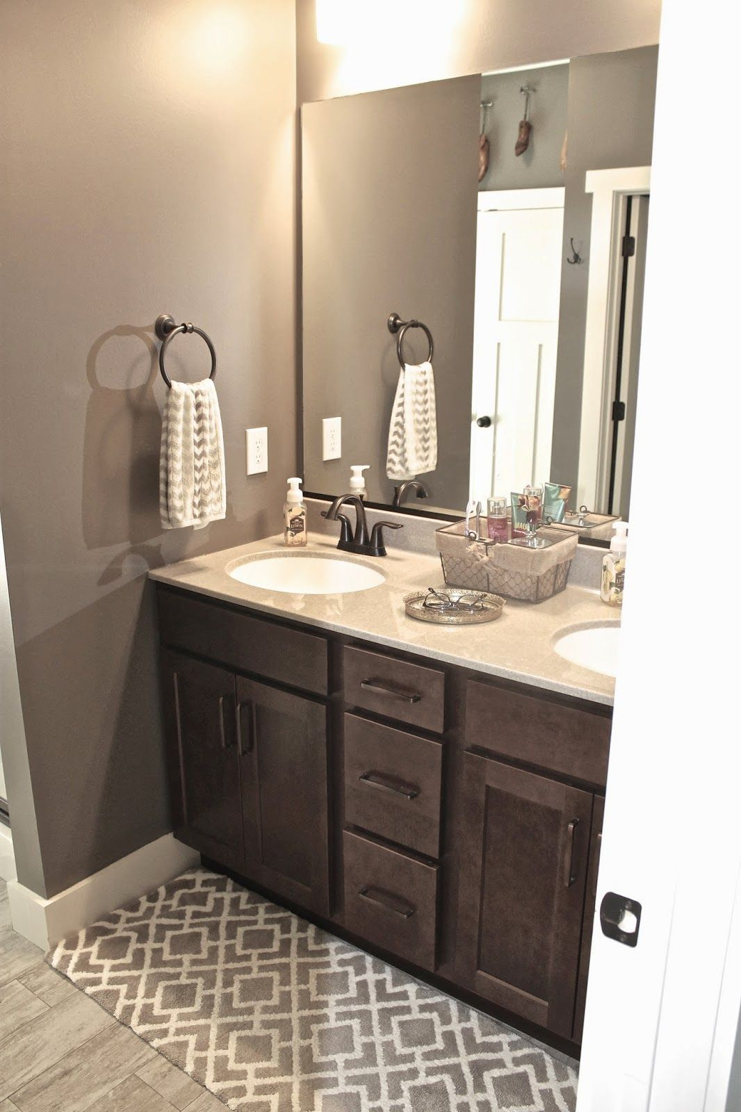 Wall Color Mink By SherwinWilliamsTrim Color Dover White By - Dark brown bathroom rugs for bathroom decorating ideas