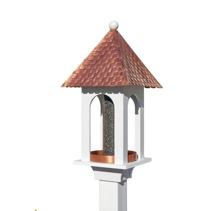 Extra-Large Seed Capacity Bird Feeder with Pure Copper Roof, Composite PVC Base,...