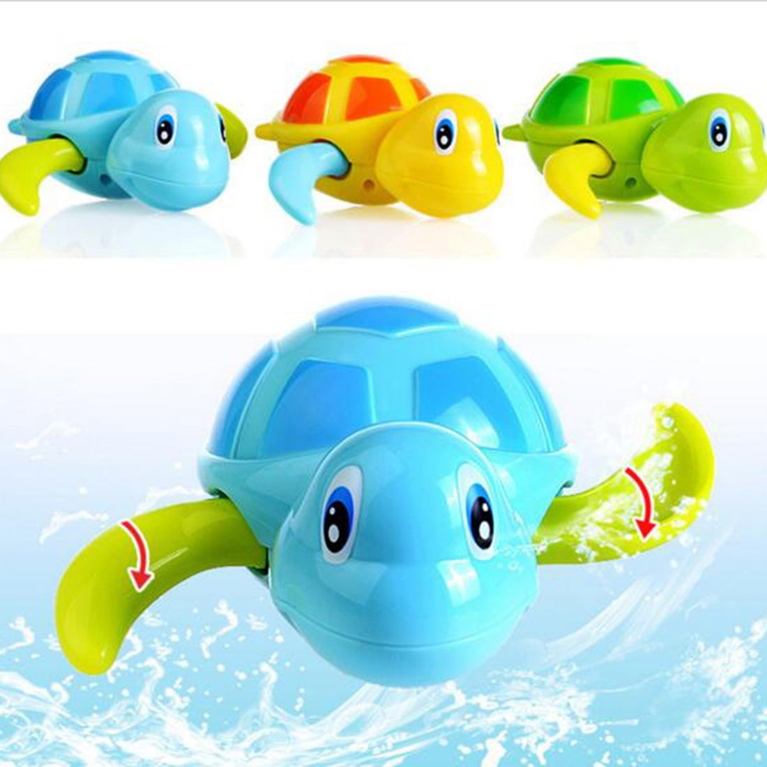 Top Baby Bath Swimming Toy Turtle Wind Up Clockwork Play Swimming ...