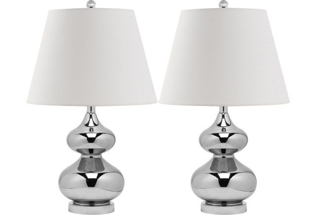 Bethany Table Lamp Set, Silver