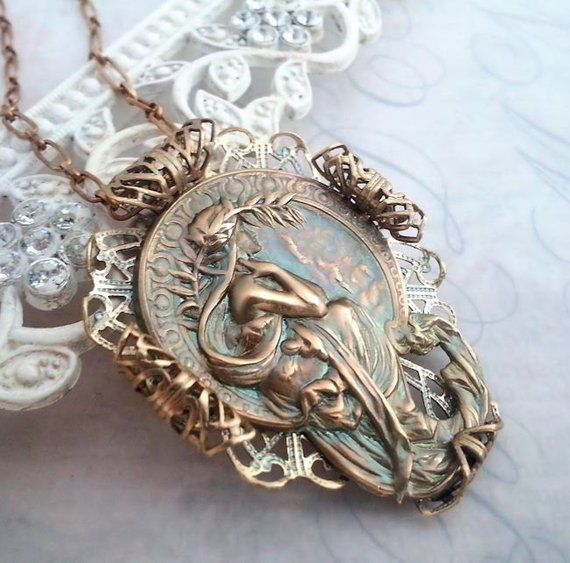 Alphonse Mucha's Poetry Necklace, Mucha Jewelry, Art