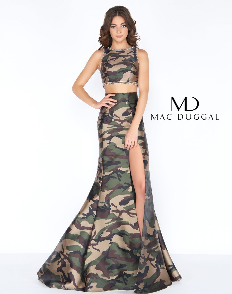 04fb272256d03 Mac Duggal has the perfect two-piece camo gown for prom! The crop top is  trimmed in rhinestone detail. The sexy skirt is accented with metal  medallion ...
