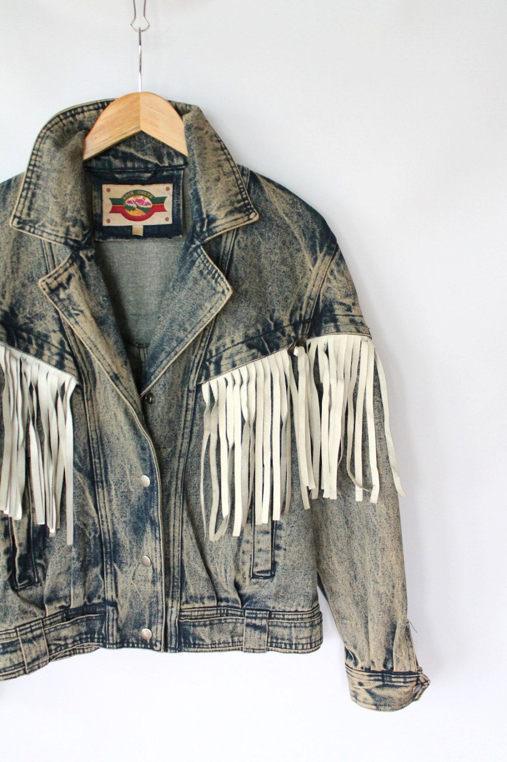 classic fit top fashion undefeated x Vintage 80s Acid Wash Denim Jacket with White Leather Western ...