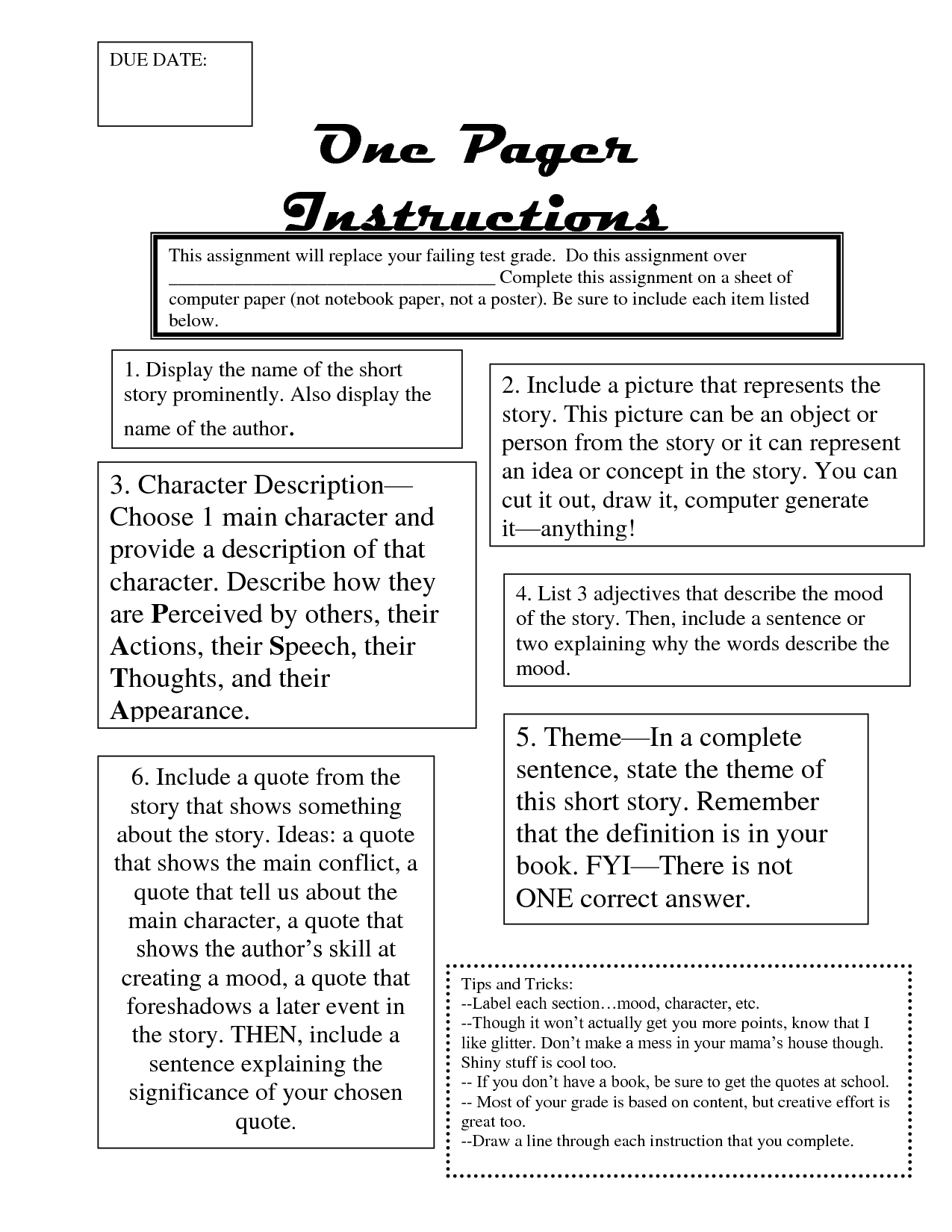 One Pager Example Instructions