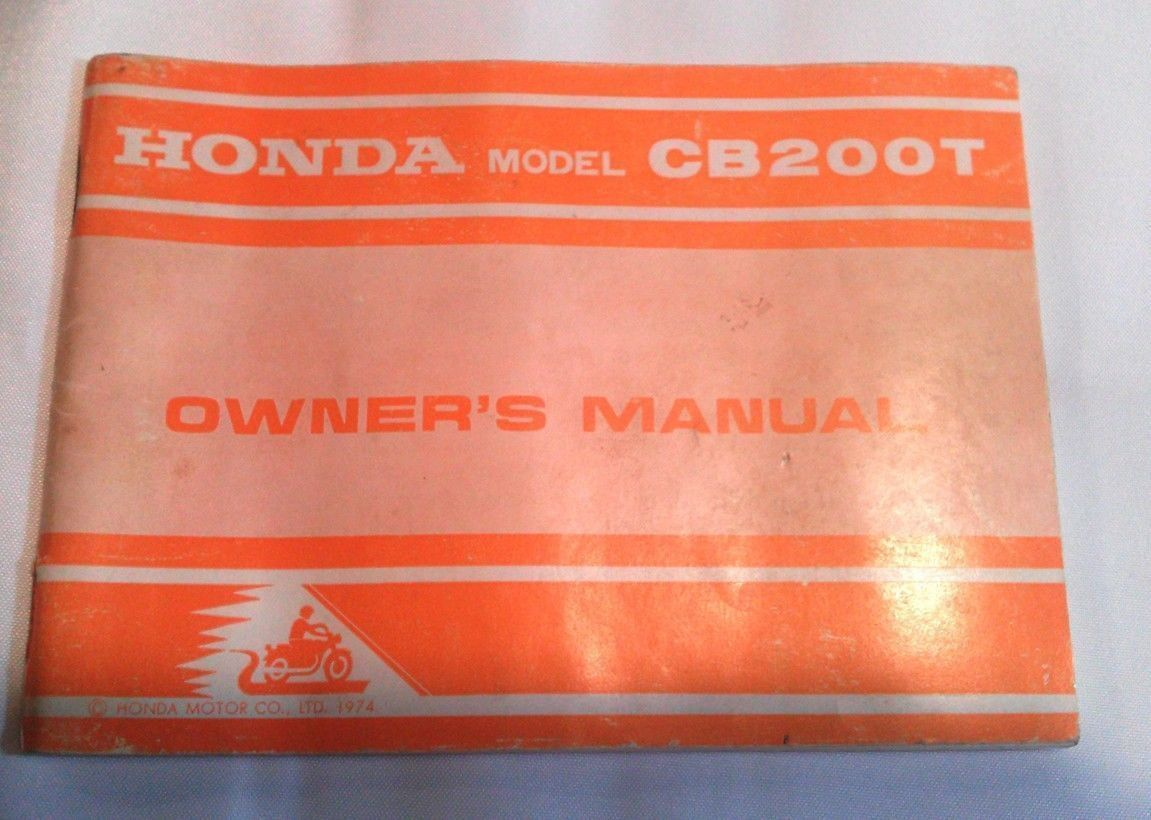 Motorcycle Honda Model Cb200t Owners Manual 1974 Wiring Diagram Oem Literature