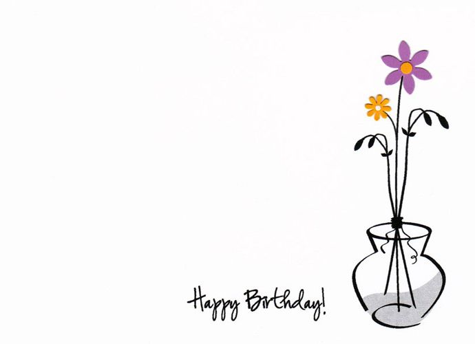 Hand made happy birthday card with a flower vase Words Happy – Art for Birthday Cards
