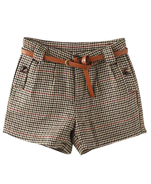 Vintage Houndstooth Mid Rise Shorts Short Feminino Shorts Femininos Roupas