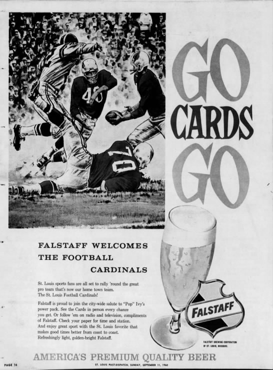 Falstaff the Football Cardinals, 1960 in 2020