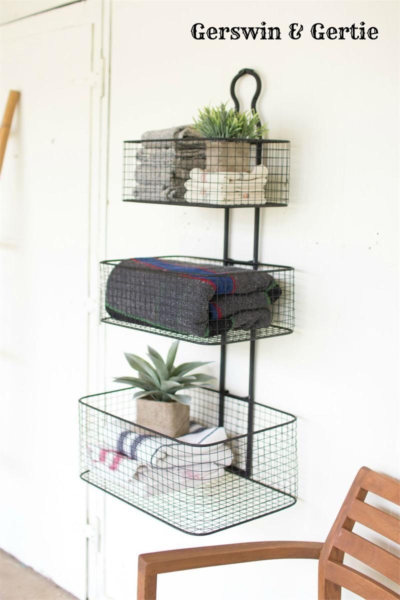 Farmhouse 2 tier black metal wall basket baskets on