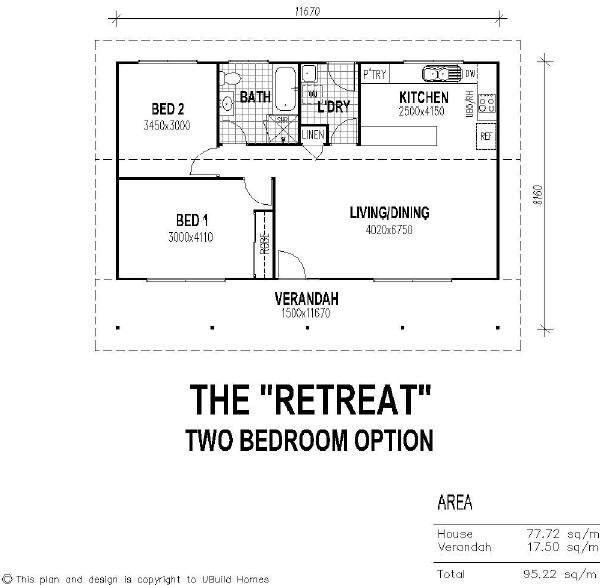 2 bedroom guest house floor plan with verandah