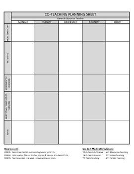 co teaching planning template version 2 of 3 co teaching