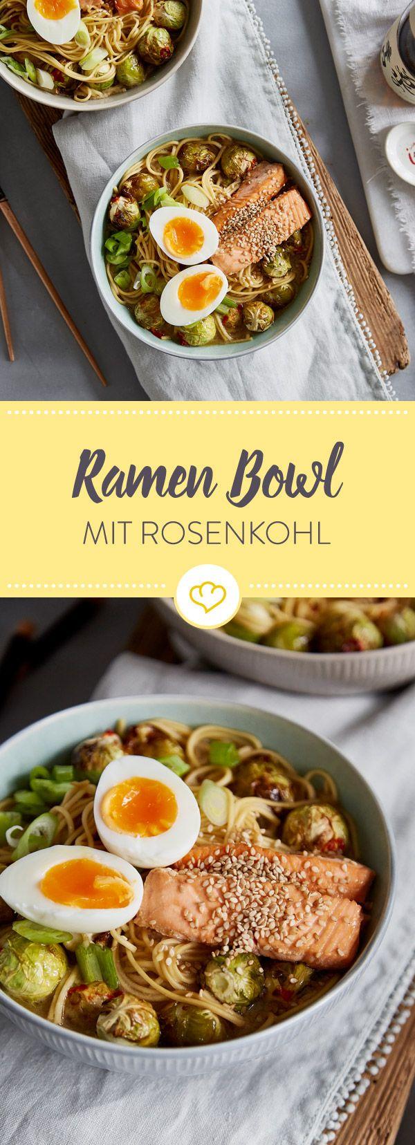 Ramen Bowl mit Rosenkohl und Lachs #ramensuppe