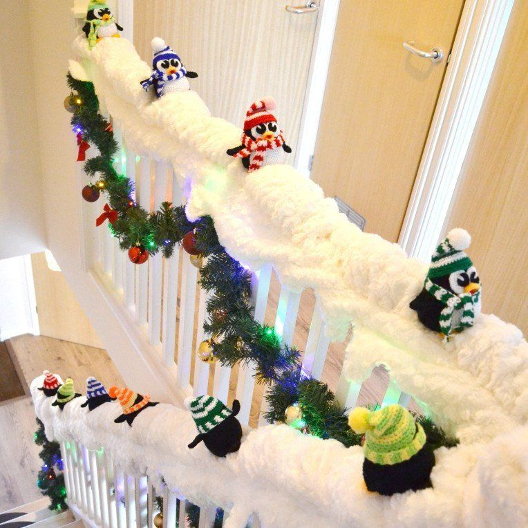 Penguins Sliding Down The Stairs Or Banister. Christmas