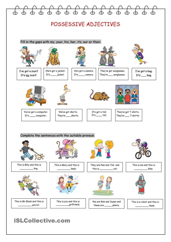 Possessive Adjectives Esl Pinterest English Worksheets And