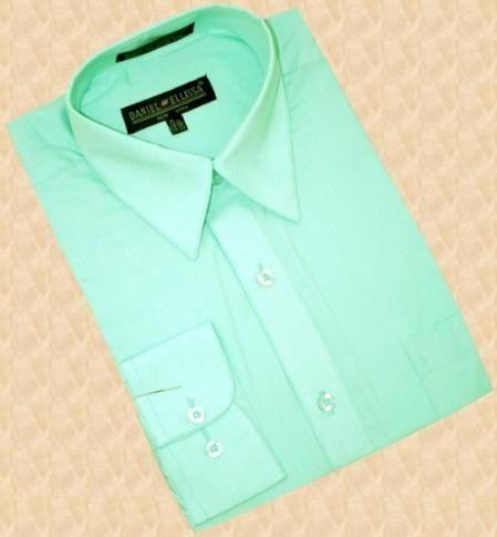 Mint Green Cotton Blend Dress Shirt With Convertible Mint Green Dress Shirt Mens Shirt Dress Lime Green Dress Shirts