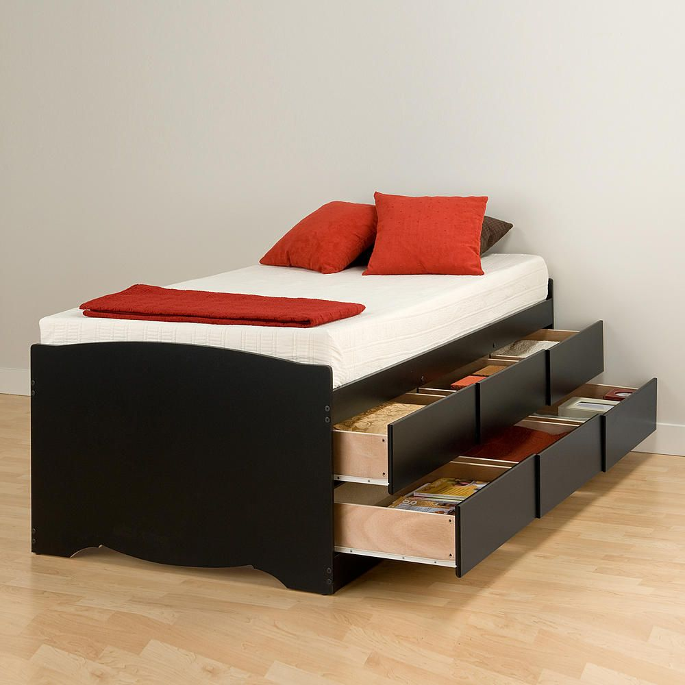 Imagine How Much More Storage Space You D Have With The Tall Twin Captain S Platform Storage Bed Frame With Storage Platform Bed With Storage Bed With Drawers