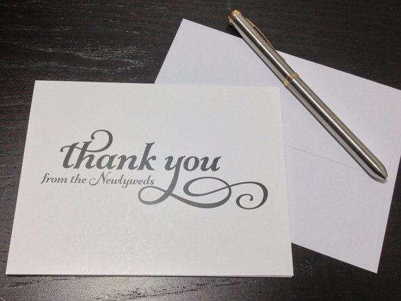 Personalized Thank You Notes - WEDDING THANK YOU - Set of 100 Folded