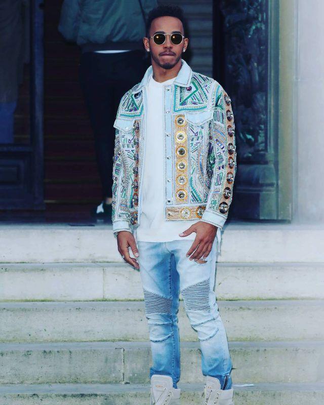 Lewis Hamilton Wears Balmain Jacket ce6a44d9144