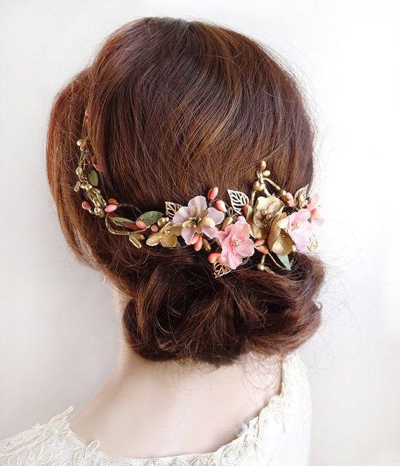 Wedding Hair Accessory wedding flower comb Pearl Hair comb floral bridal comb, whimsical bridal hair vine blush headpiece