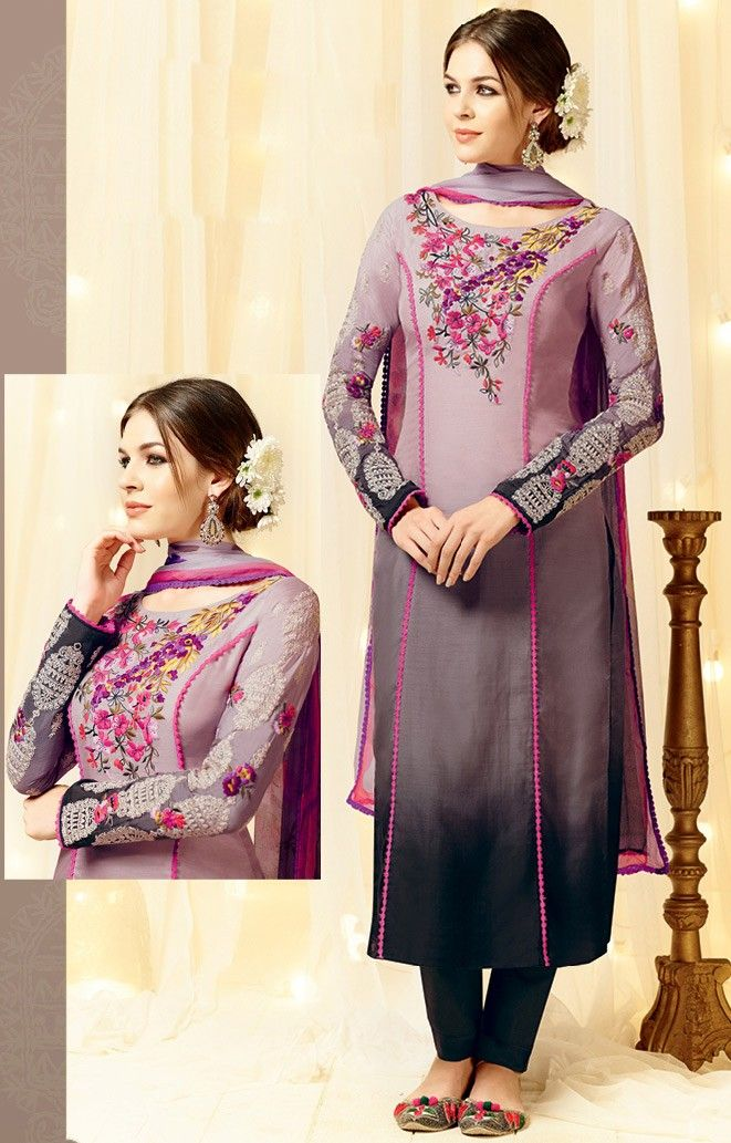 c53b1fb314 Grey Satin Narrow Pant Suit with Dupatta - SALWAR KAMEEZ - Women ...