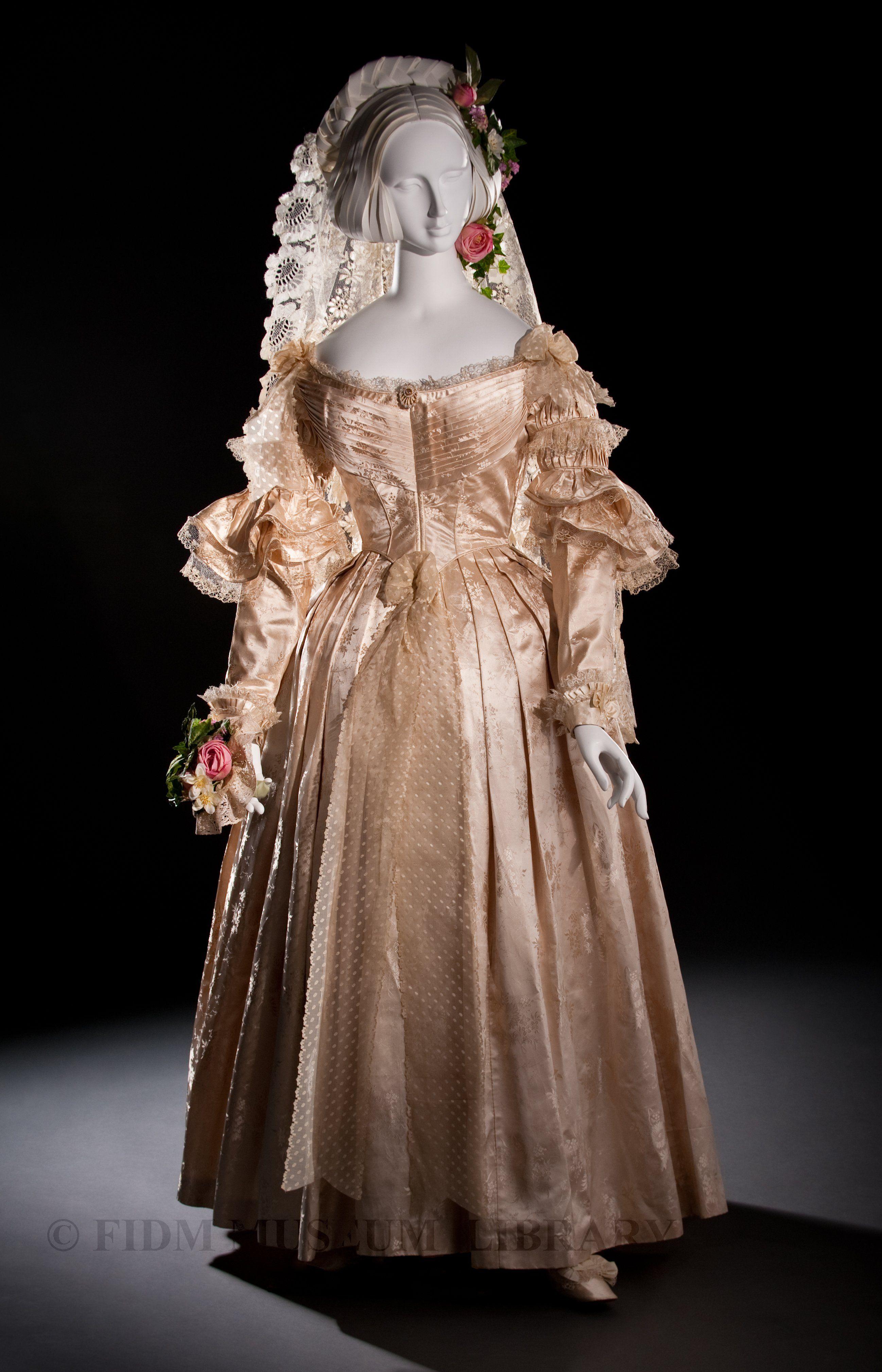 Wedding Gown ca. 1838, England, jacquard silk, blonde