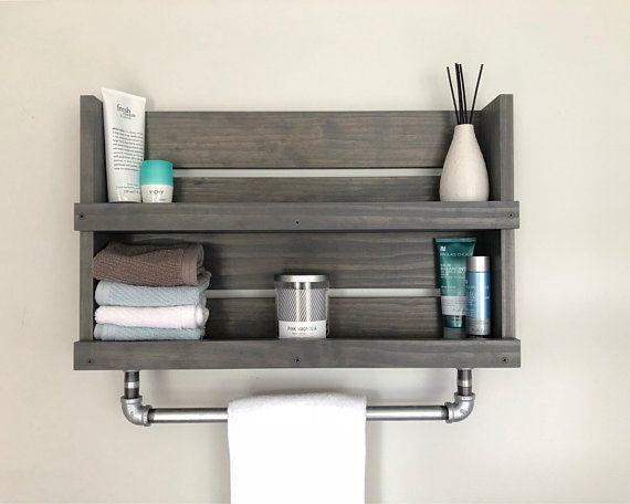 Bathroom shelf galvanized pipe towel bar wall mounted Industrial