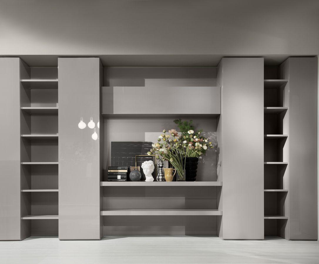 Mueble modular de pared composable lacado code by emmebi for Disenos de modulares para living