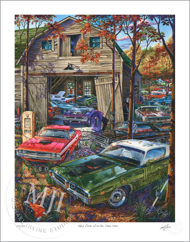 A Michael Irvine Studios 'Muscle Car Landscapes' Series - They Came With The Farm Free Limited Edition Print.