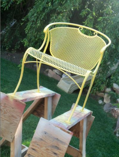 Spray Painting Wrought Iron Furniture Vintage Patio