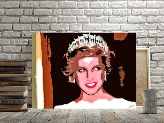 Princess Diana British Royalty Pop Art Home Decor Princess Di Spencer Print Or Canvas Diana Wedding Tiara Fan Gift Princess Diana Wall Art Pictures Pop Art