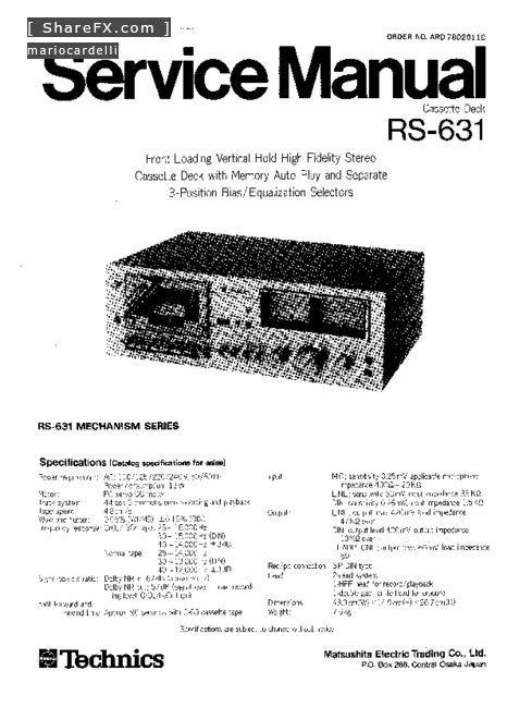 Technics RS-631 audio.pdf free manual download page