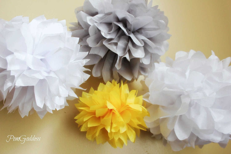 Wedding decorations yellow and gray  Wedding Decorations  Tissue Poms DIY  via Etsy  Wedding