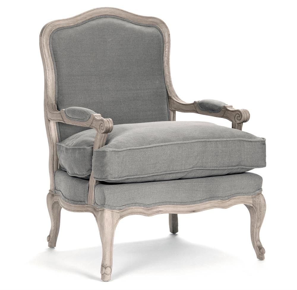 French Country Bastille Dark Grey Linen Salon Armchair