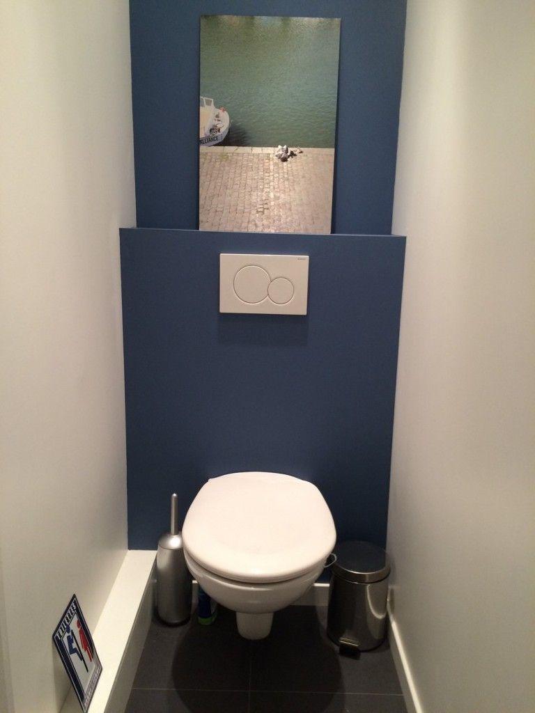 Nouvelle Annee Nouvelles Toilettes Repeintes En Bleu Small Bathroom Inspiration Toilet Bathroom Colors