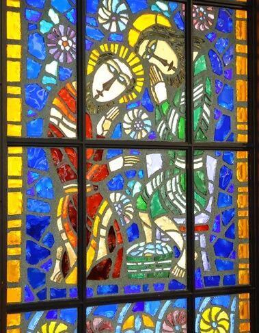 Yotsuya Shinsei Church in Tokyo has a beautiful stained glass window.