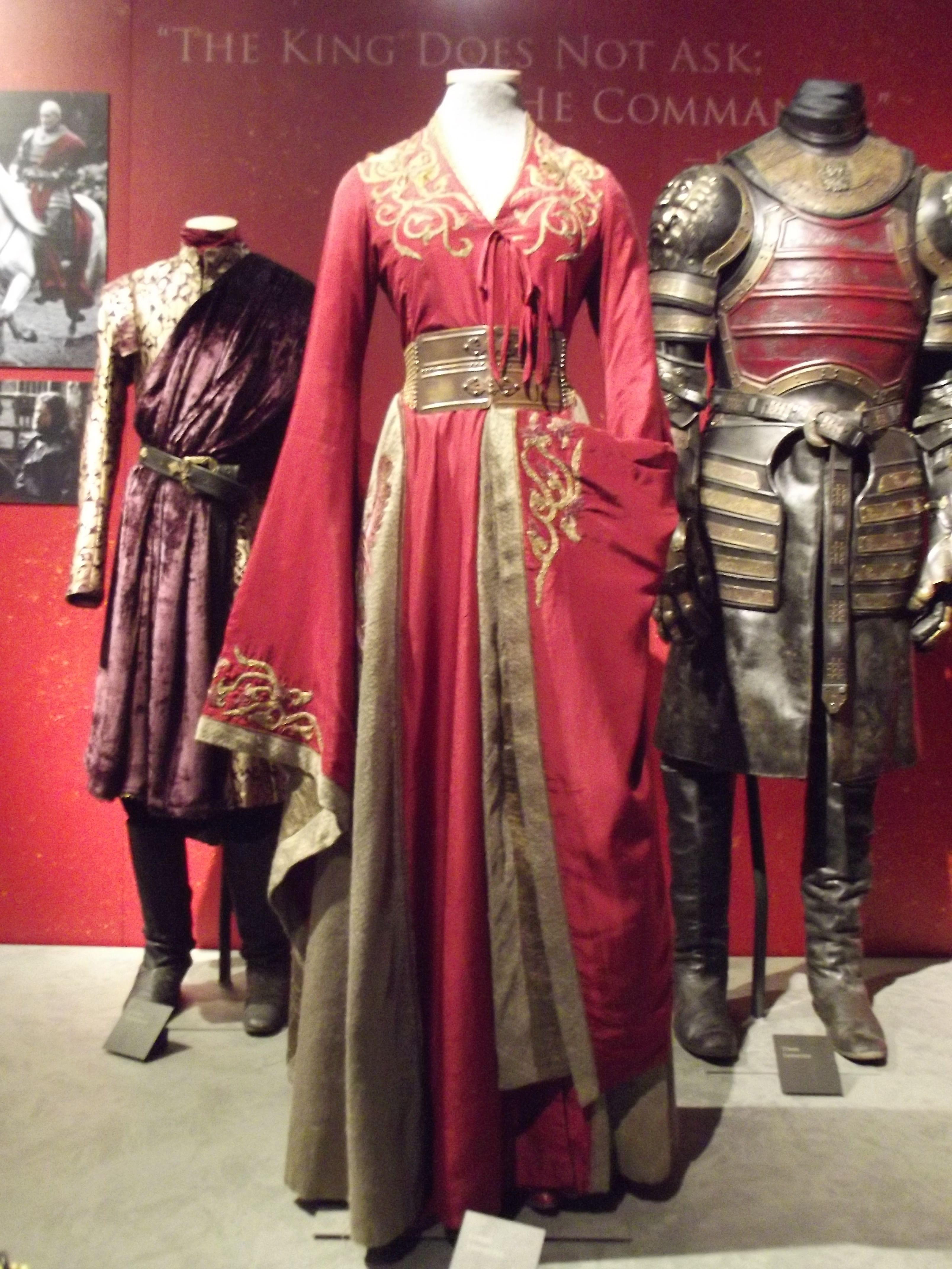 detail Cersei Joffery and Tywin Lannisters  costumes from Game of Thrones exhibition in Belfast