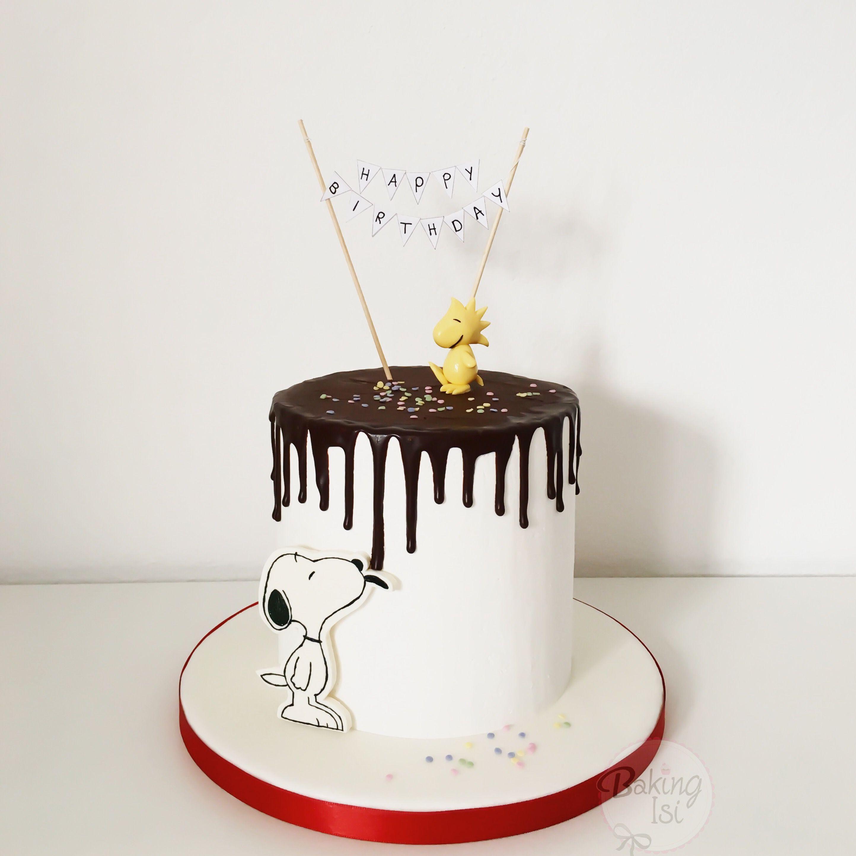 Snoopy Cake Drip Torte Woodstock cakes desserts Pinterest
